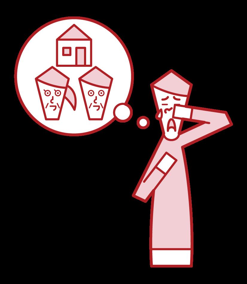 집을 그리워하는 사람 (남성)의 그림