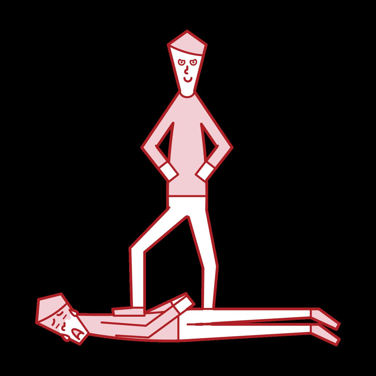 屈服させる人(男性)のイラスト