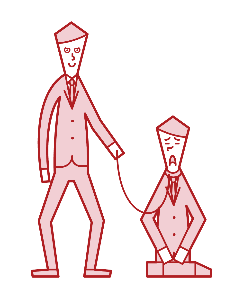 部下を服従させる人(男性)のイラスト