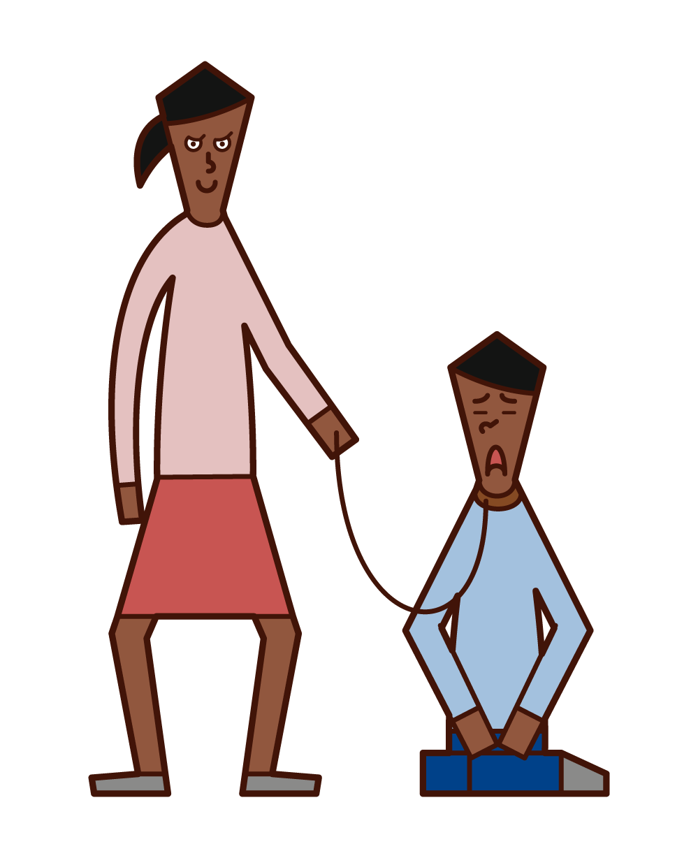 남자가 순종하는 사람(여자)의 그림