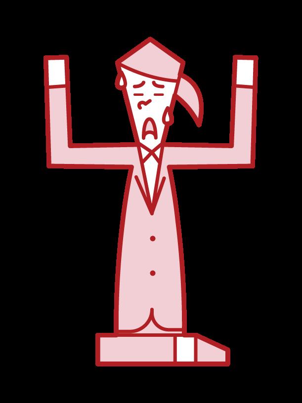 降参する人(女性)のイラスト
