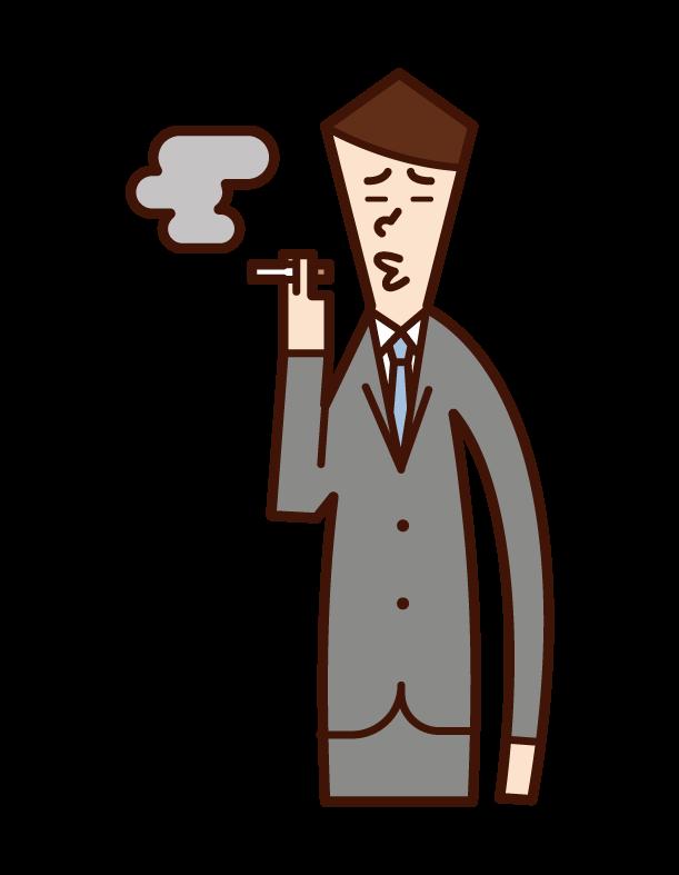 Illustration of a man who smokes a cigarette