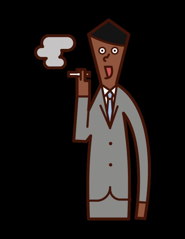 一個看起來美味的人吸煙的插圖
