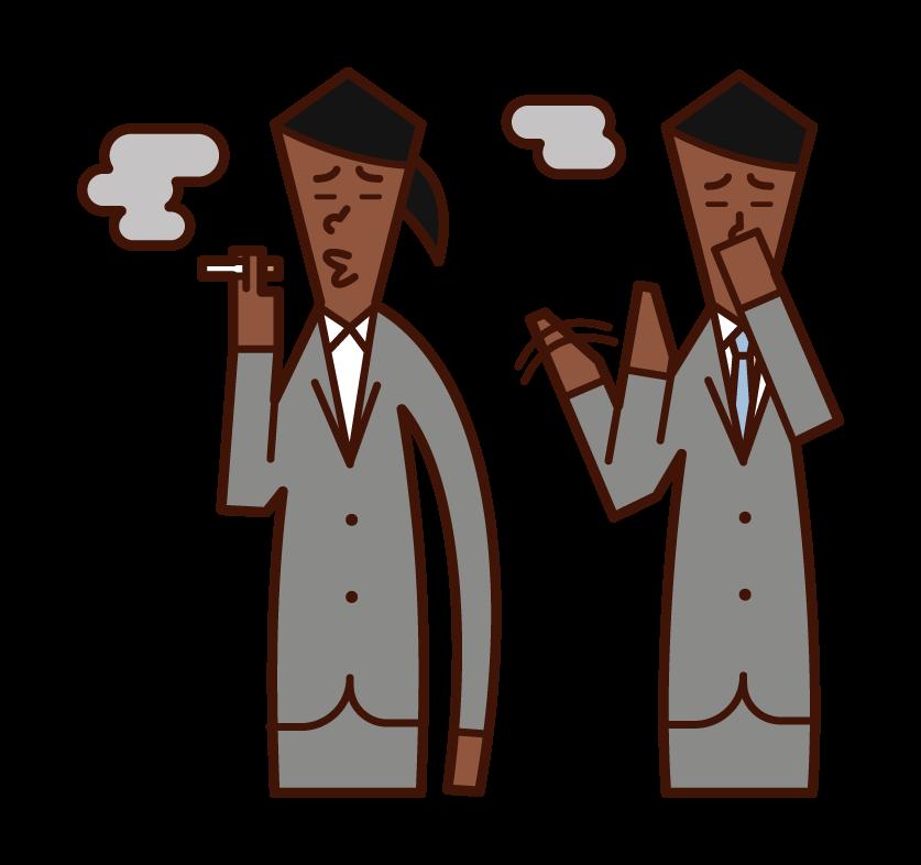 タバコの煙を嫌がる人(男性)のイラスト