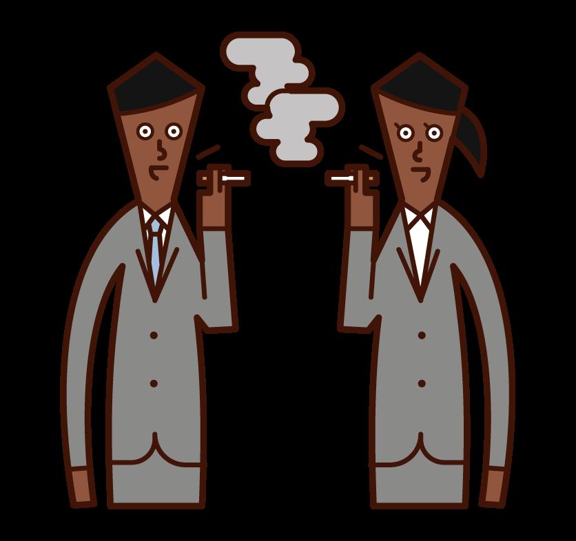 Illustration of people talking in smoking areas