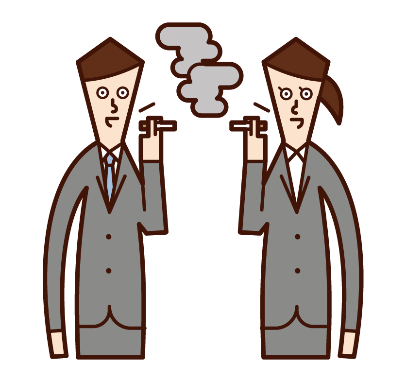 在吸煙區說話的人的插圖