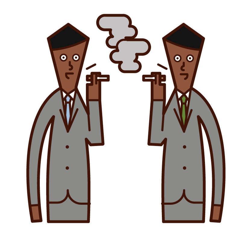 Illustration of a man talking in a smoking area