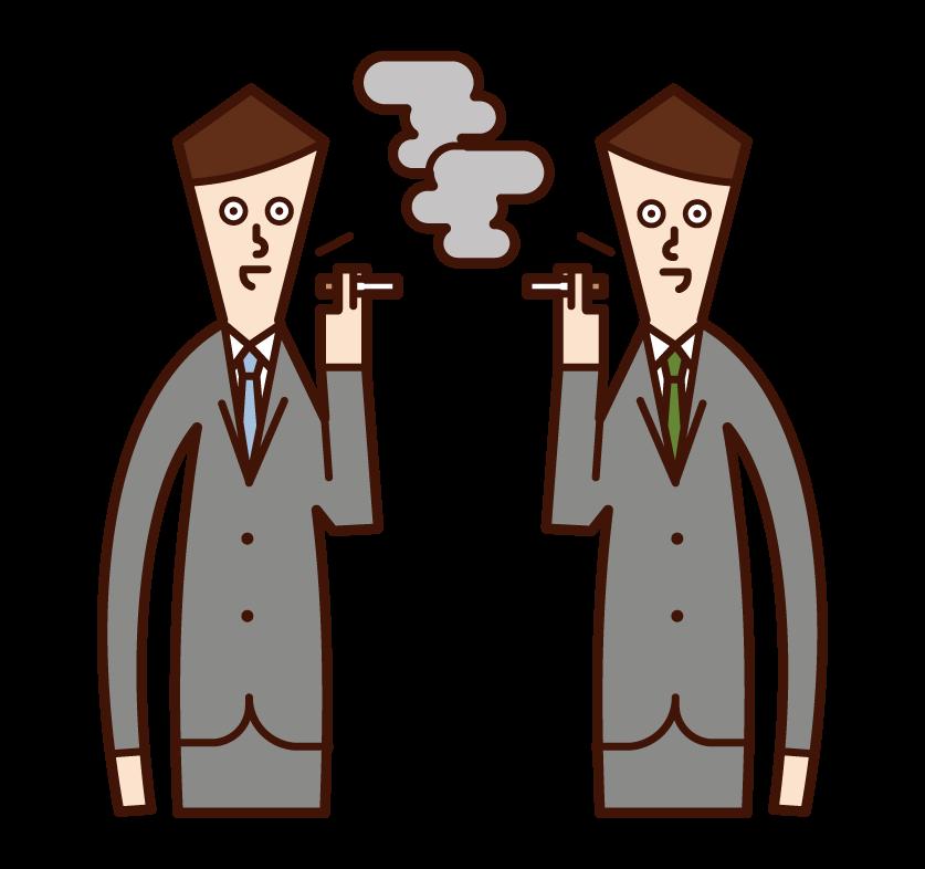 在吸煙區說話的人(男性)的插圖