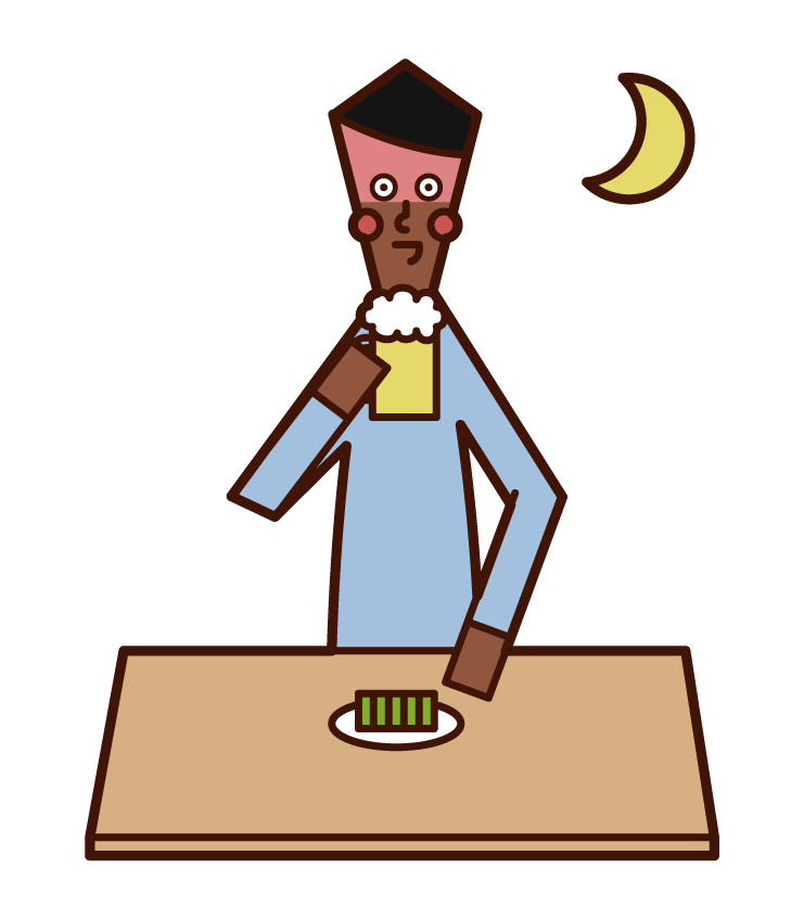 Illustration of a man drinking in the evening