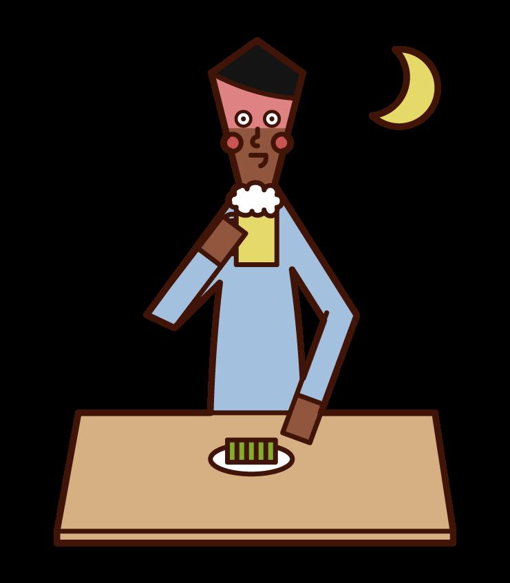 晚餐的人(男性)的插圖