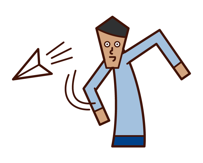 Illustration of a man flying a paper airplane