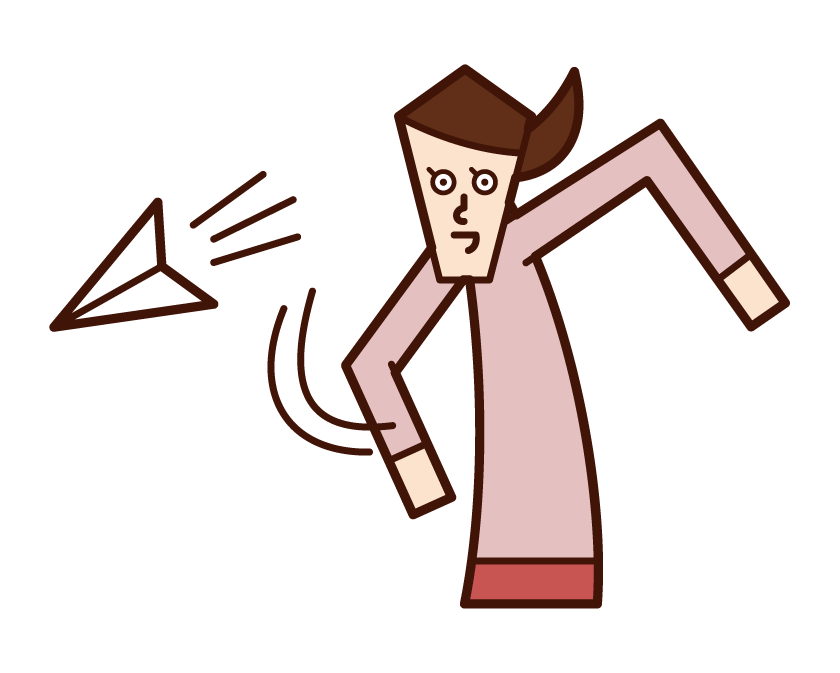 Illustration of a woman flying a paper airplane