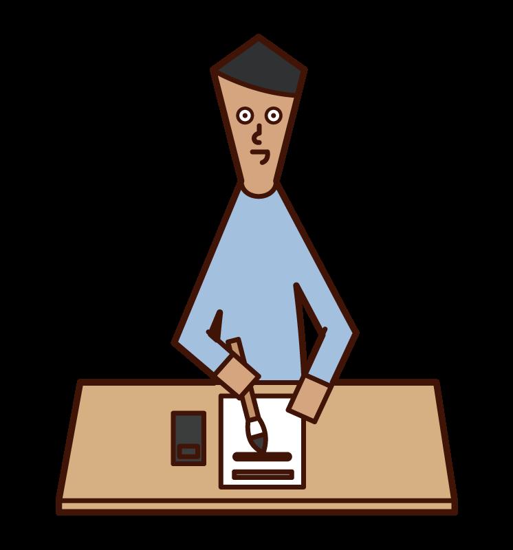 書法和書法(男性)的插圖