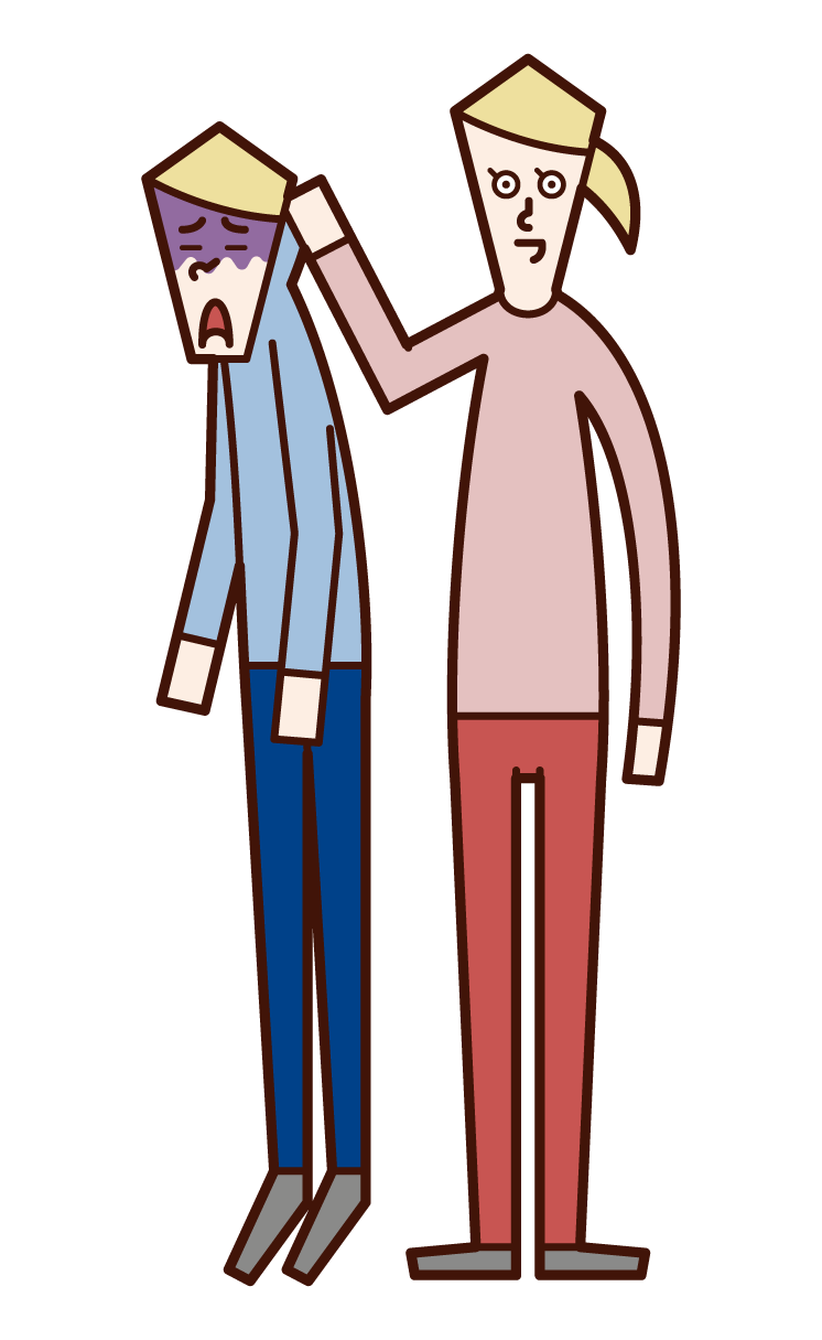 Illustration of a woman grabbing a man's neck