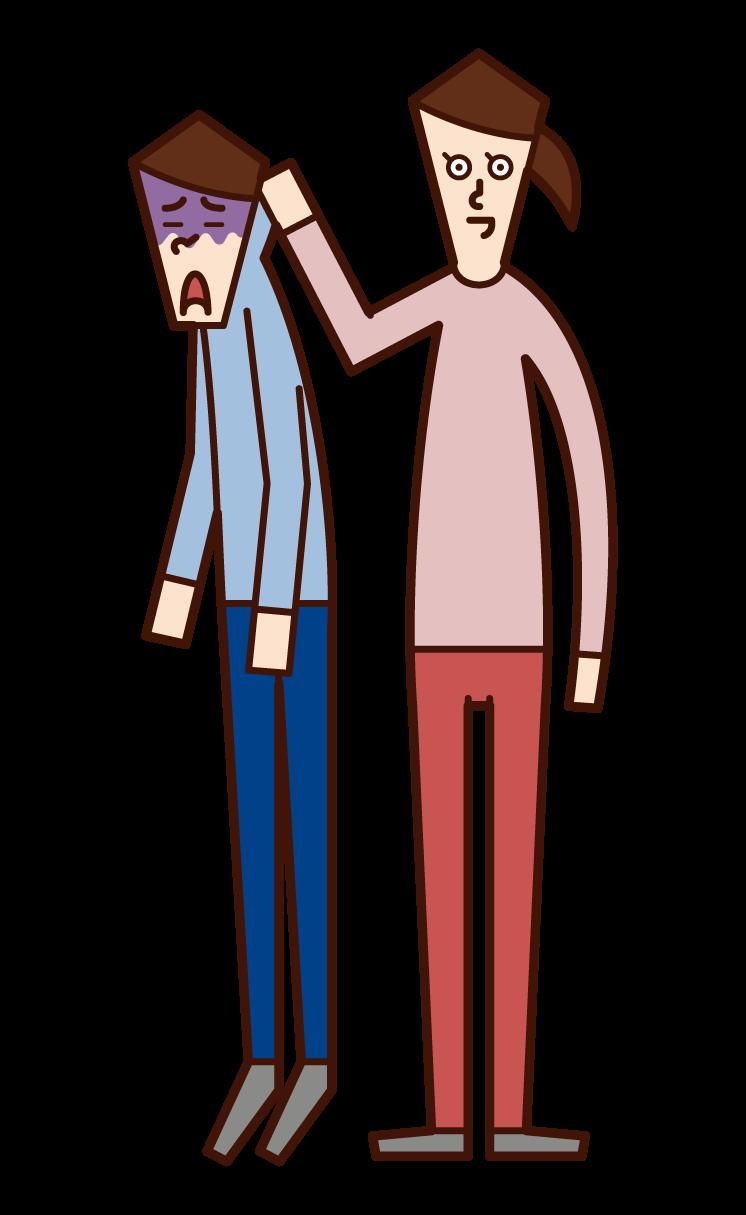 남자의 목을 잡는 사람 (여자)의 그림
