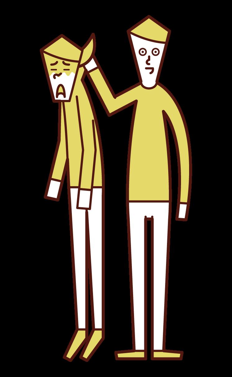 女性の首根っこを掴む人(男性)のイラスト