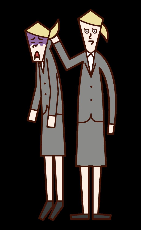 Illustration of a woman grabbing a subordinate's neck