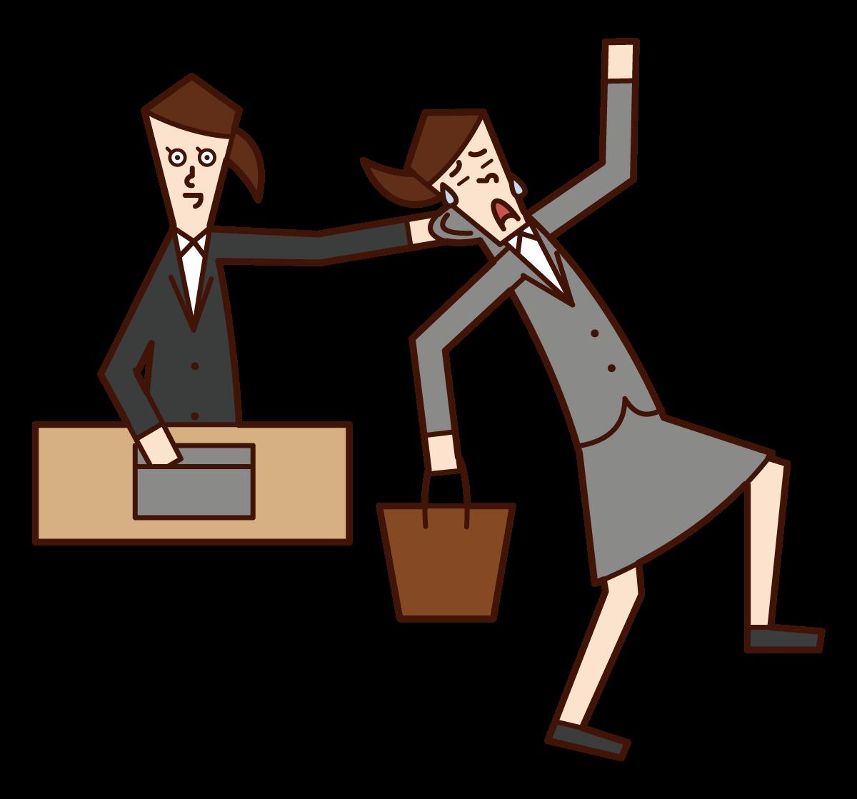Illustration of a man grabbing a subordinate's neck
