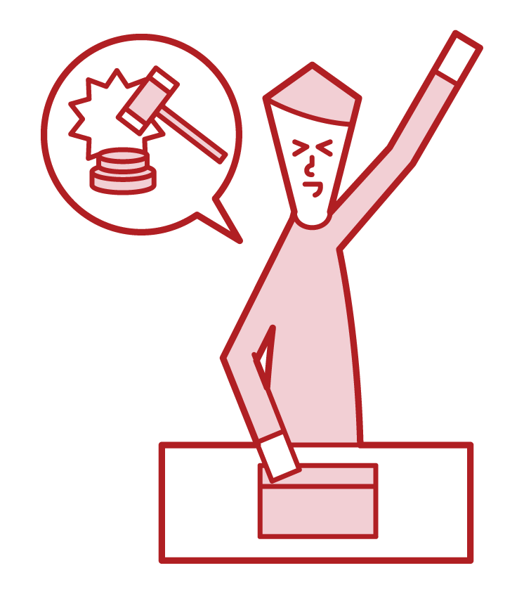 Illustration of a man who competed in an internet auction