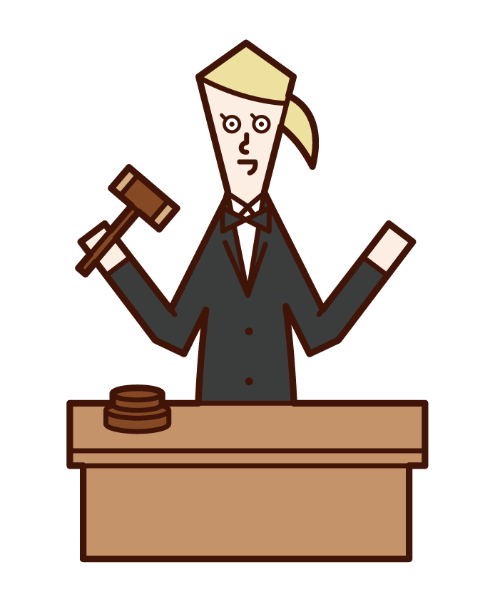 Illustration of a female oak shonya auction moderator