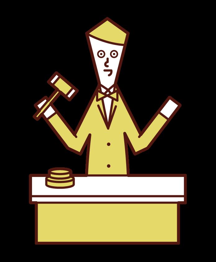 オークショニア・オークションの司会(男性)のイラスト