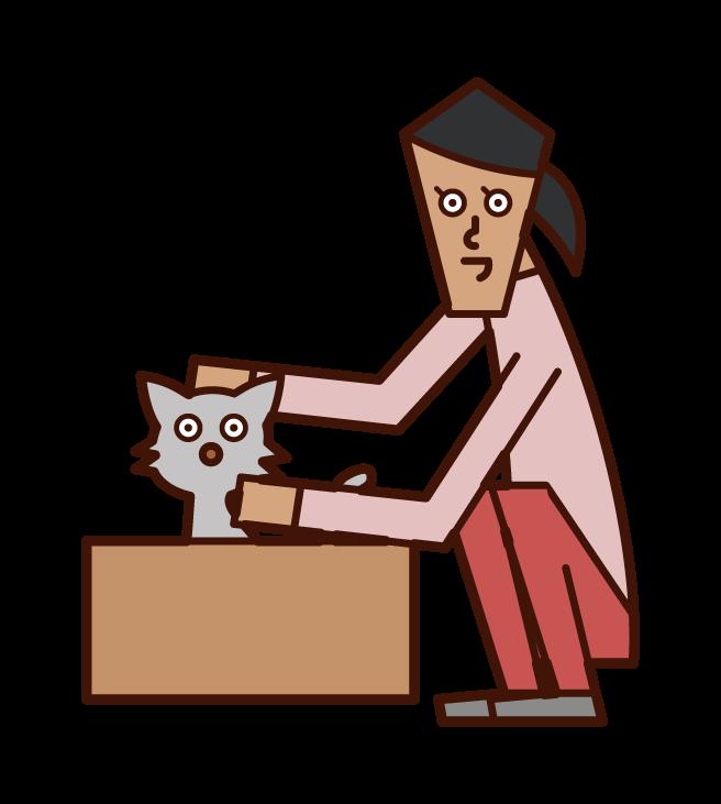 捨て猫を可愛がる人(女性)のイラスト