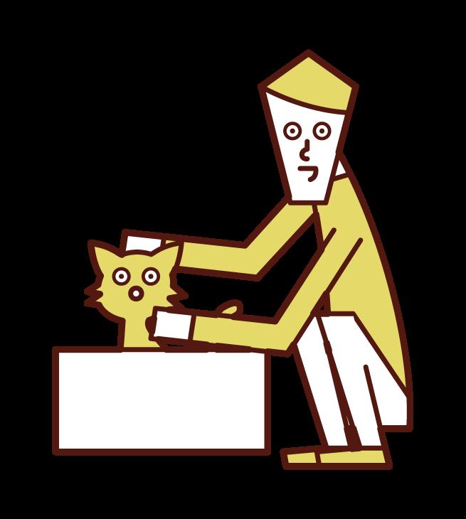 捨て猫を可愛がる人(男性)のイラスト