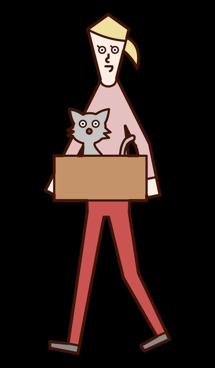 捨て猫を持ち帰る人(女性)のイラスト