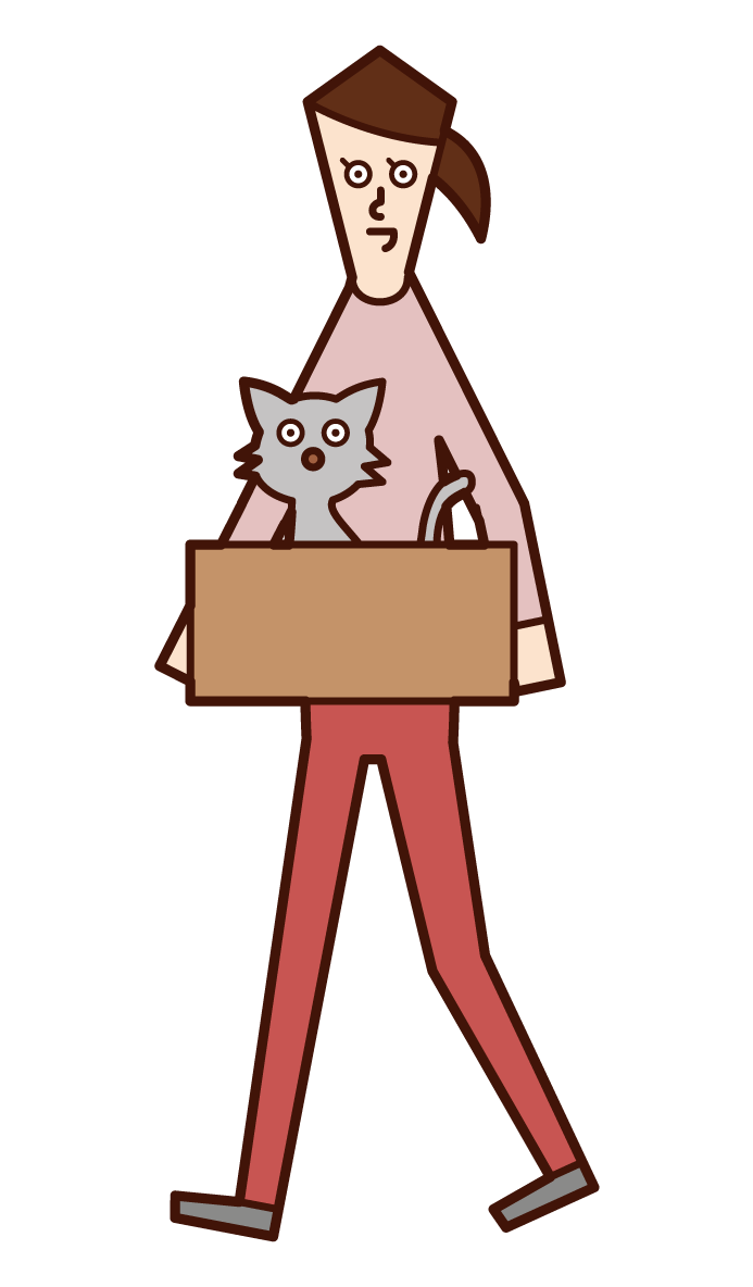 Illustration of a woman taking a discarded cat home