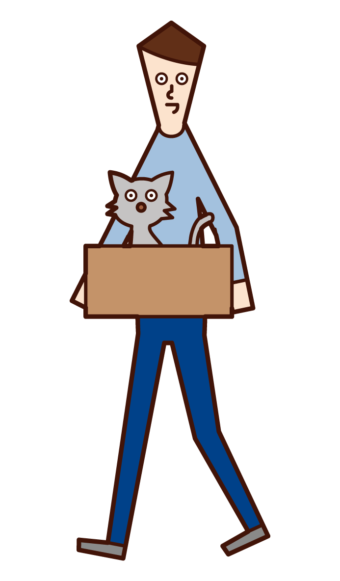 Illustration of a man (male) taking a discarded cat home