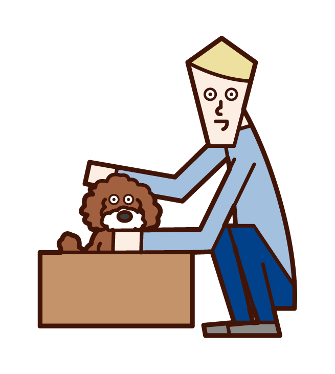 Illustration of a man who cares for a abandoned dog