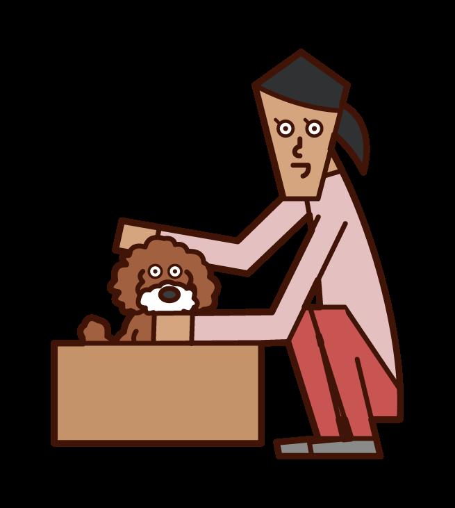 귀여운 개 (여자)의 그림
