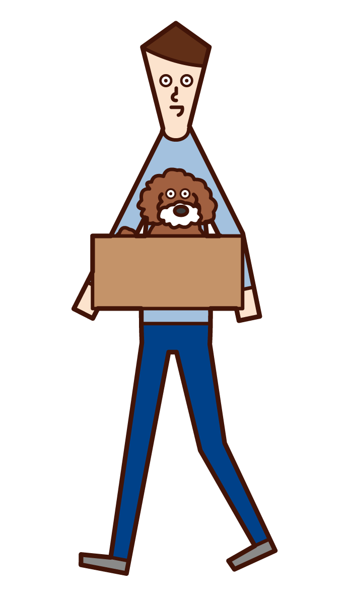 Illustration of a man (male) taking a abandoned dog home