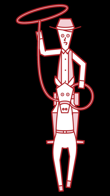 말의 등에 카우보이의 그림