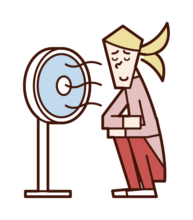 Illustration of a woman cooling down in the wind of a fan