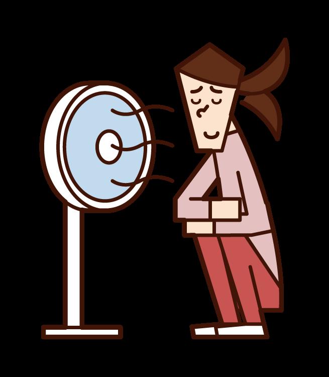 扇風機の風で涼む人(女性)のイラスト
