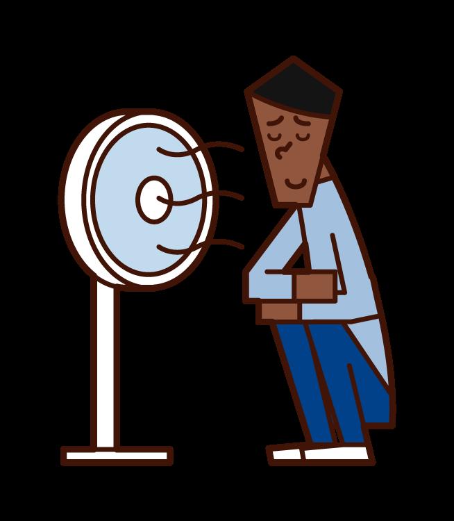扇風機の風で涼む人(男性)のイラスト