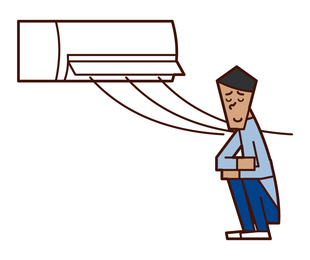 Illustration of a man cooling down in the air conditioner wind