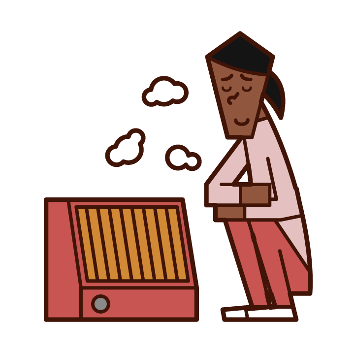 Illustration of a woman warming up with an electric heater
