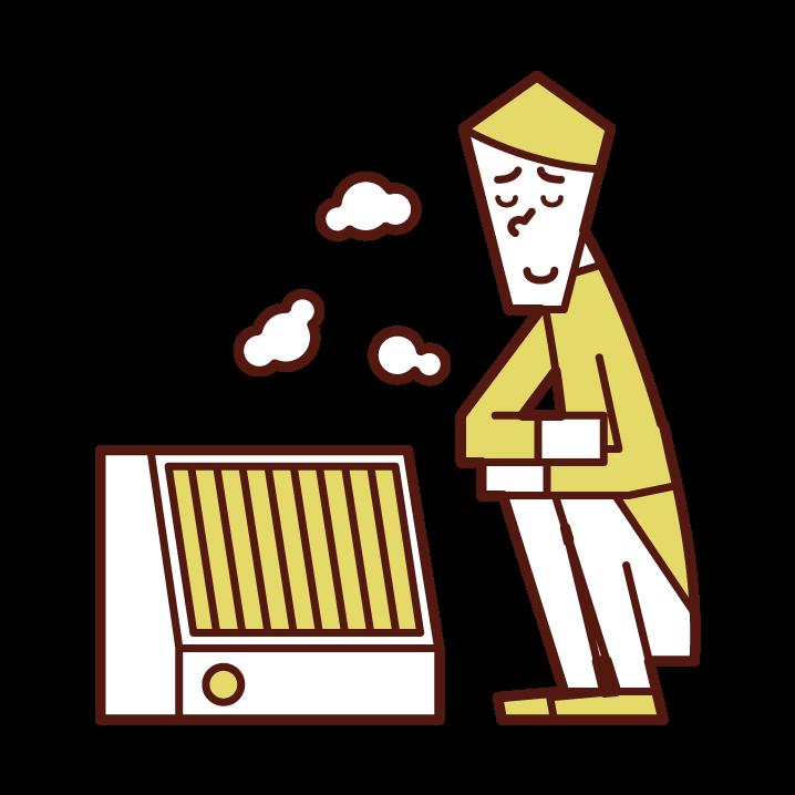 電気ヒーターで暖まる人(男性)のイラスト