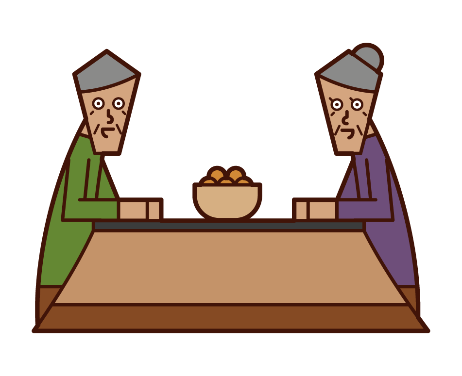Illustrations of elderly people warming up with kotata