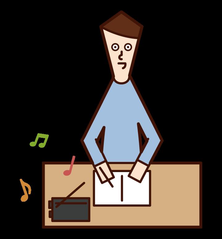 라디오를 듣는 사람 (남성)의 그림