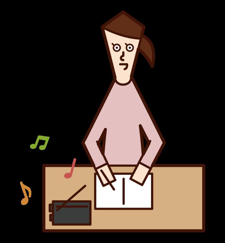 라디오를 듣는 사람 (여성)의 그림