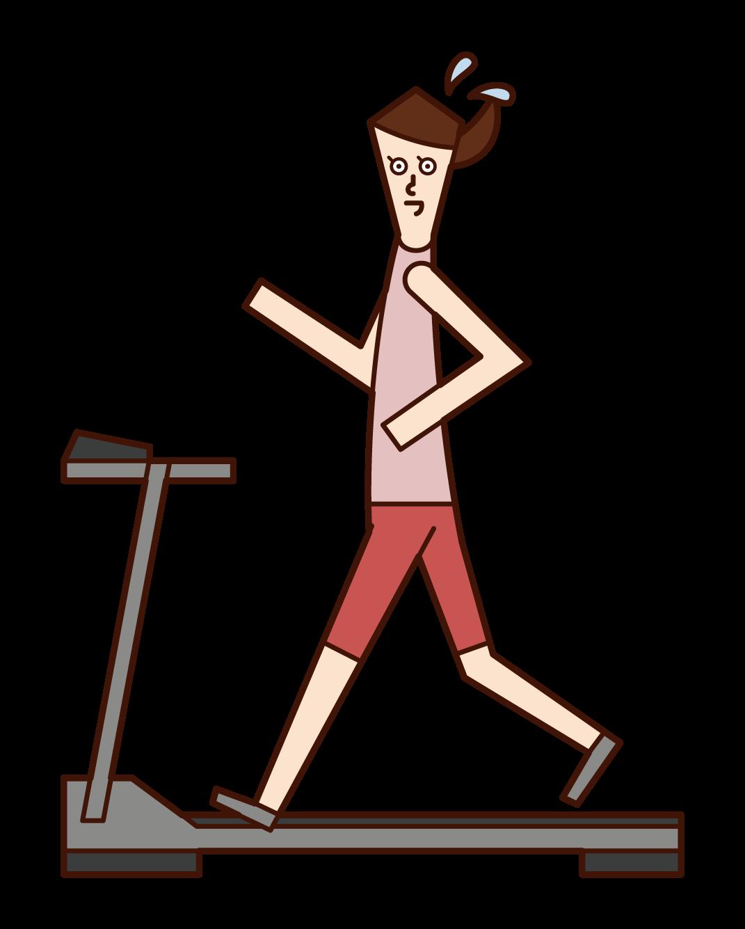 러닝머신에서 달리는 사람(여성)의 그림입니다
