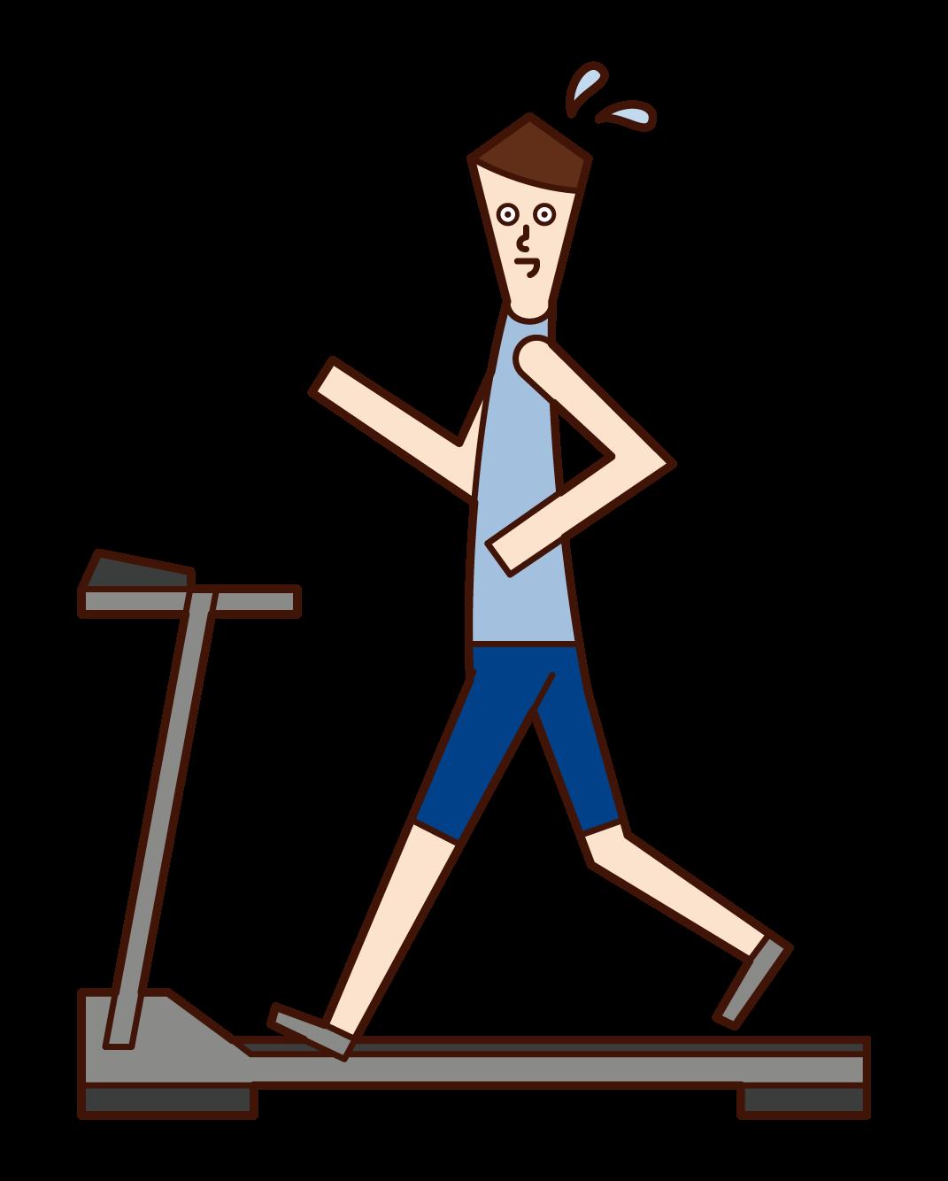 러닝머신에서 달리는 사람(남성)의 그림입니다