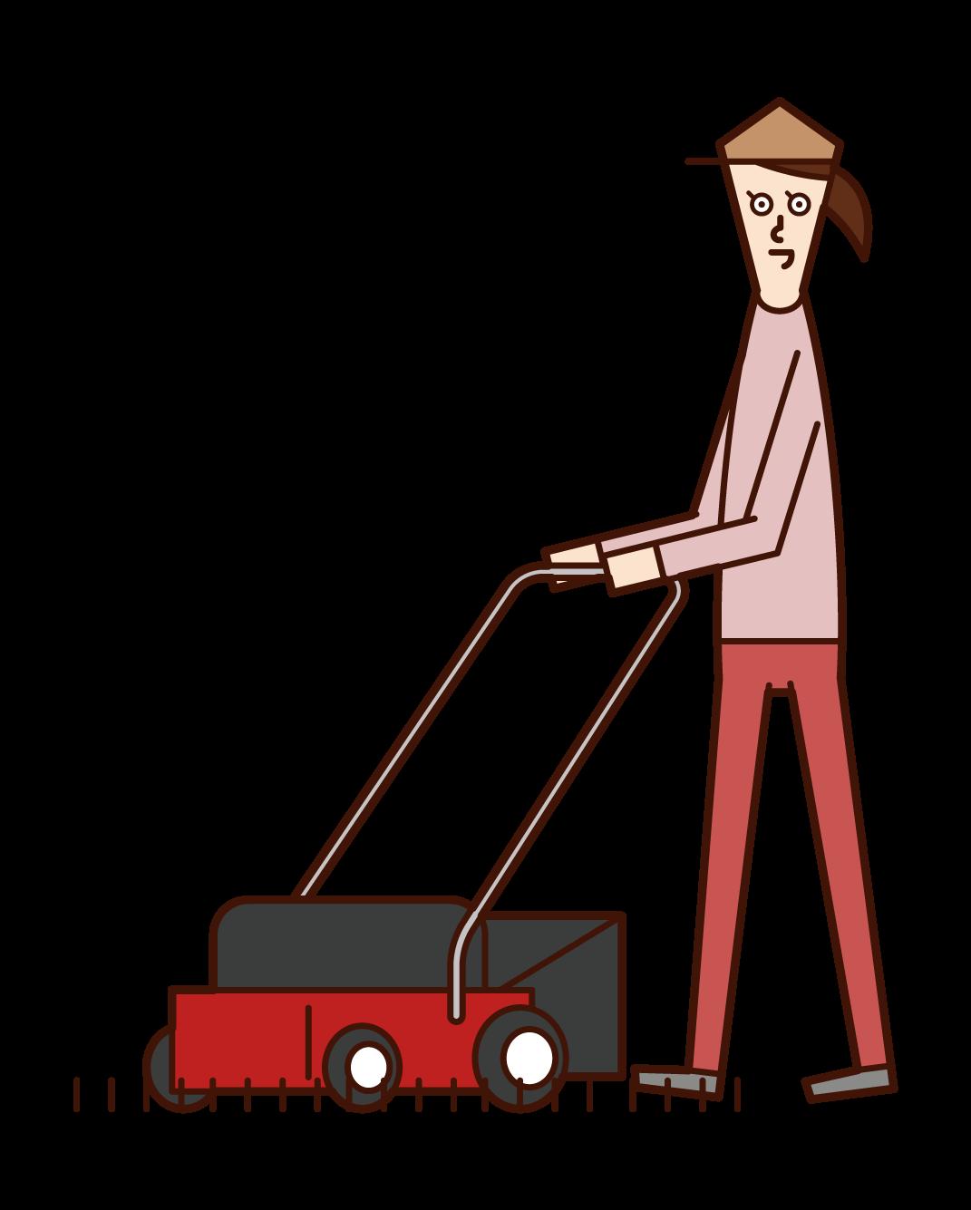 芝刈り機を使う人(女性)のイラスト