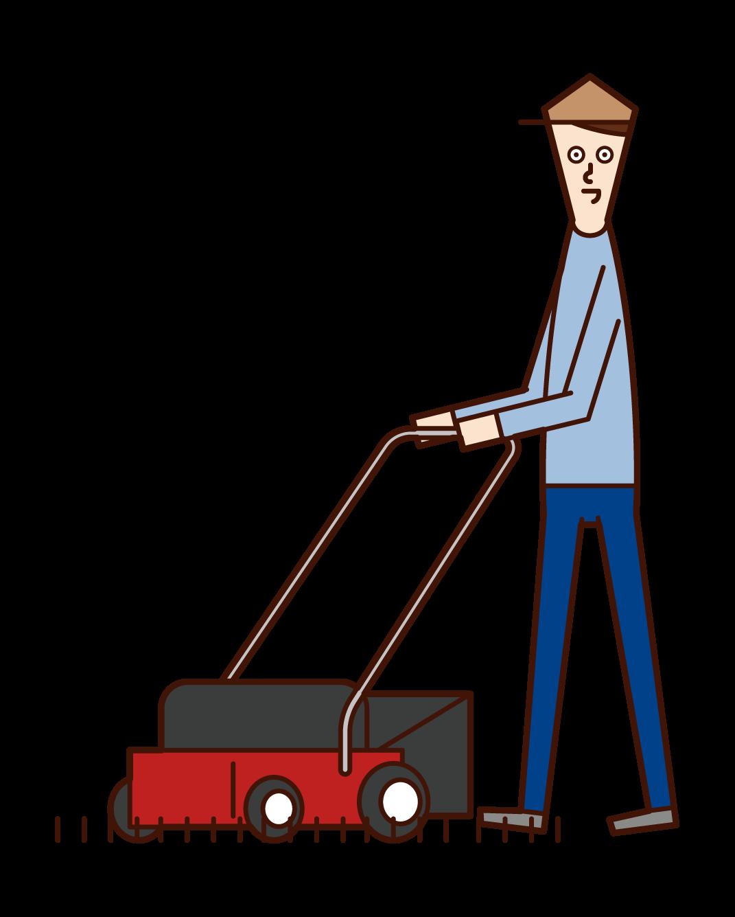 芝刈り機を使う人(男性)のイラスト
