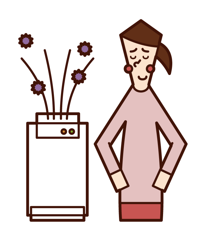 Illustration of a woman using an air purifier