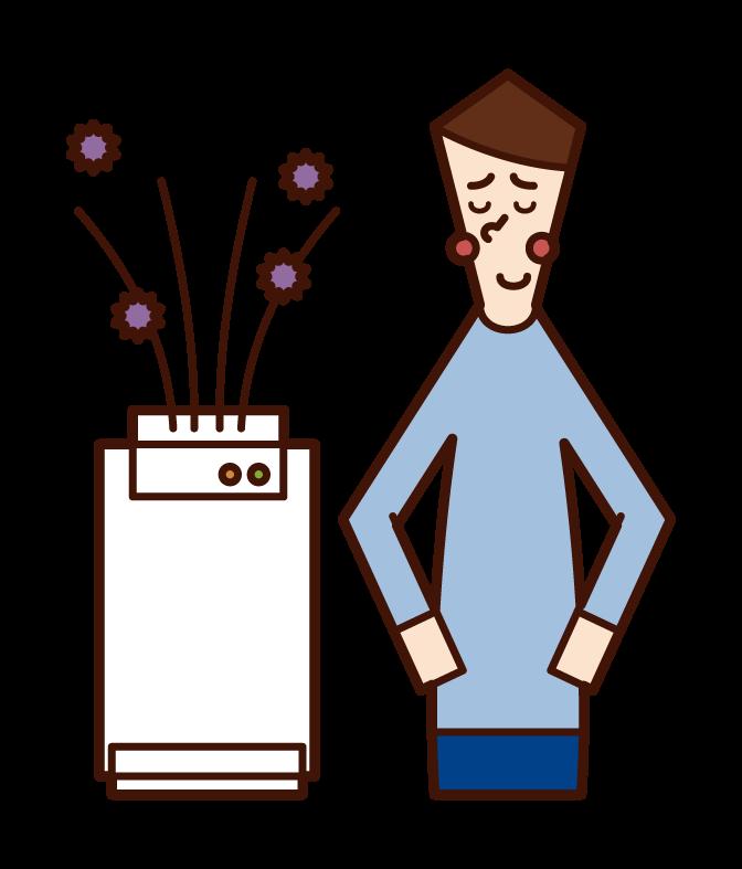 Illustration of a man using an air purifier