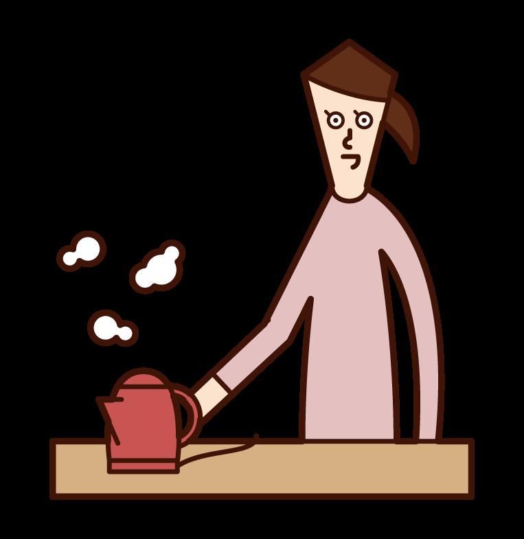 電気ポットでお湯を沸かす人(女性)のイラスト